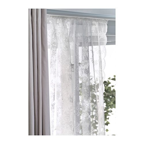 Alvine Spets Lace Curtains 1 Pair Off White In 2018 Rooms Pinterest And Ikea