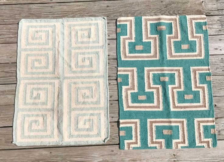 """2 Wool Rugs 36""""x25"""" turquoise 34x25"""" green area, runner, hall, mat, lot #Country"""