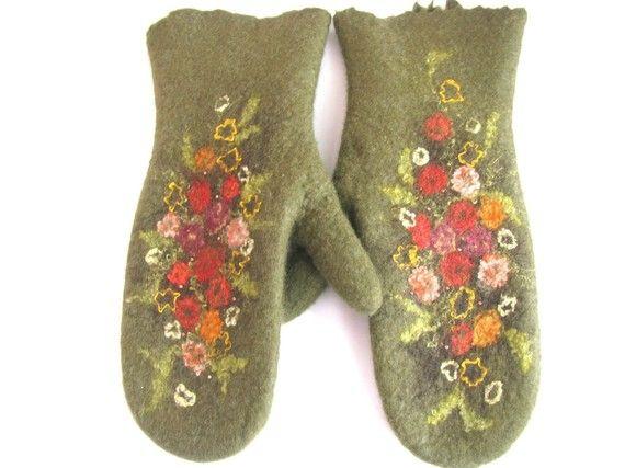 Felted mittens green olive flowered Handmade by AureliaFeltStudio, $39.00