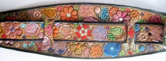 IPod Nano  Leather Watch Band or Wrist Band Cuff with Flower