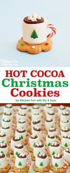 Adorable Hot Cocoa Christmas Cookies made with marshmallows.  Looks just like a tiny cup of hot chocolate.  Perfect holiday for a school party or Christmas party.  Kids will love this no bake fun food idea.