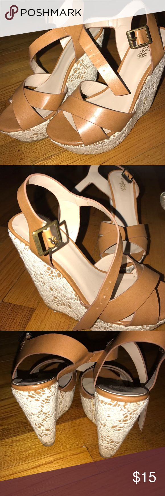 White laced wedges • Super cute light brown wedges with lace on the side! Only worn once! Size 7 1/2 can fit a size 7 perfectly as well( not tillys just for more views)!! Tilly's Shoes Wedges
