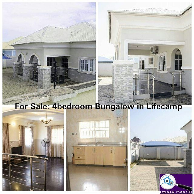 This fabulous Four (4) Bedrooms detached home could be yours. Built & Finished to the highest standard.  Enviably located at LIFE CAMP ABUJA.  FEATURES: - Delectable crispy marble floors. - Palatial bedrooms with HDF wardobes, all ensuites with quality bathroom fittings. - Large kitchen/store fully fitted with HDF cabinets. (Madam will Love this) lol. - Servant quarters. - Complementary Air-conditioner & Car Port. - Dedicated Borehole / Reservoir. - Fully energized electric fencing system…