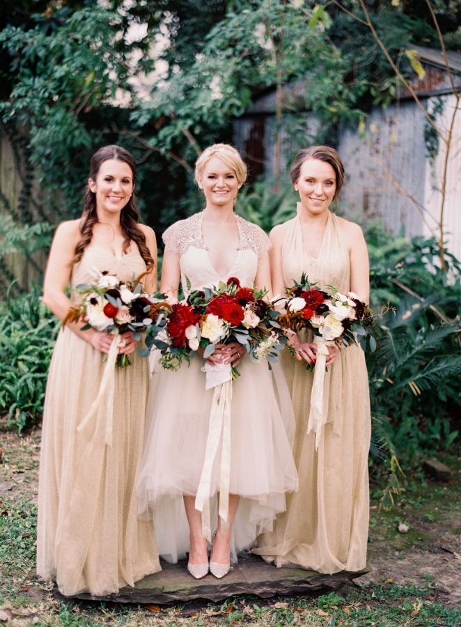 Elegant Bride & Gold Bridesmaids // Photography ~ Marissa Lambert Photography