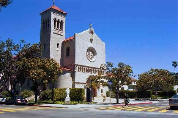 """Saint Monica's Catholic Church. Established back in 1886, the St. Monica parish predates the city of Santa Monica (which is, of course, Spanish for """"Saint Monica""""). A that time, the nearest Catholic church was at Olvera Street in downtown Los Angeles. The current church building dates to 1926. It was damaged during the recent big earthquake, but the damage has been fixed, and the church looks better than ever."""