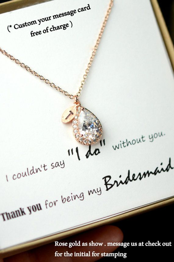 rose gold blush initial necklace jewelry set clear personalized bridesmaid gift set bridesmaid necklace bridal jewelry