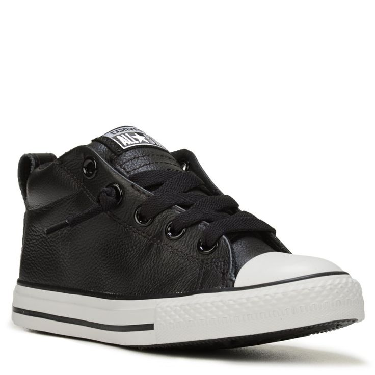 Converse Kids' Chuck Taylor All Star Street Mid Top Leather Sneakers (Black/White Leather) - 12.0 M
