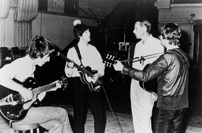 George, Paul and John with George Martin