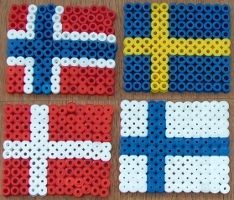 Flags of Norway, Sweden, Denmark and Finland (fuse beads)