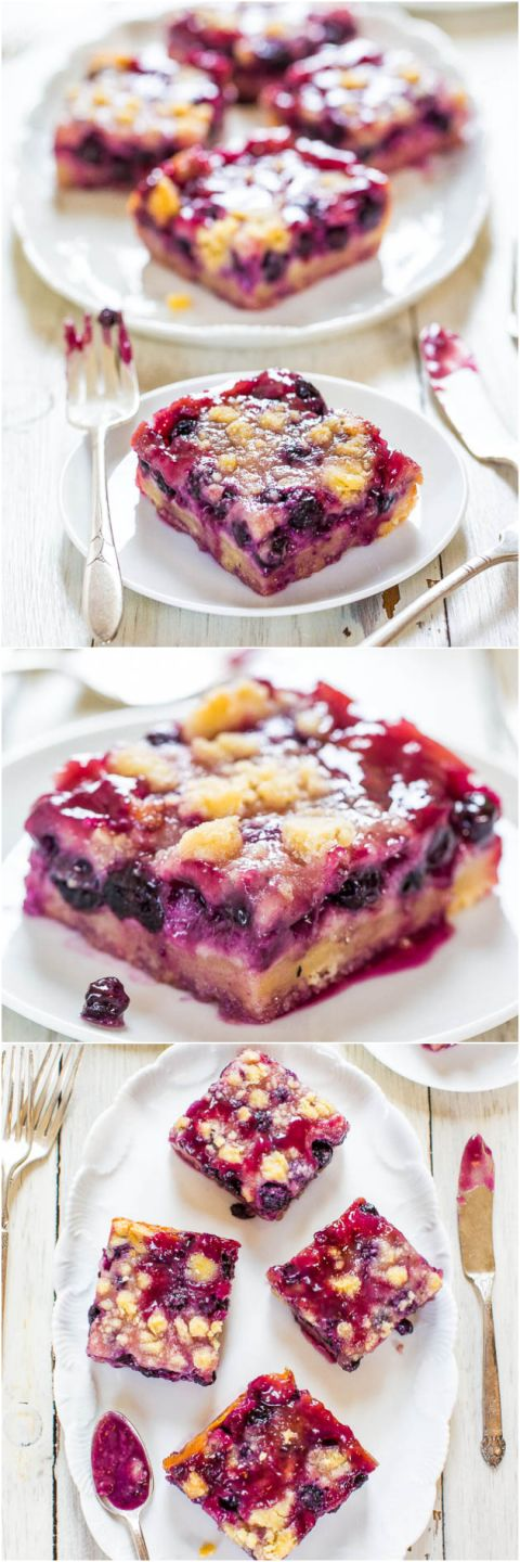 Blueberry Pie Bars - Super soft, easy bars with a creamy filling, streusel topping and abundance of juicy blueberries! Sooo darn good! Great for #MothersDay #Brunch !