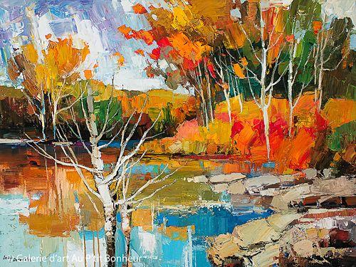 Iosif Derecichei, 'Autumn Afternoon Reflections', 36'' x 48''   Galerie d'art - Au P'tit Bonheur - Art Gallery
