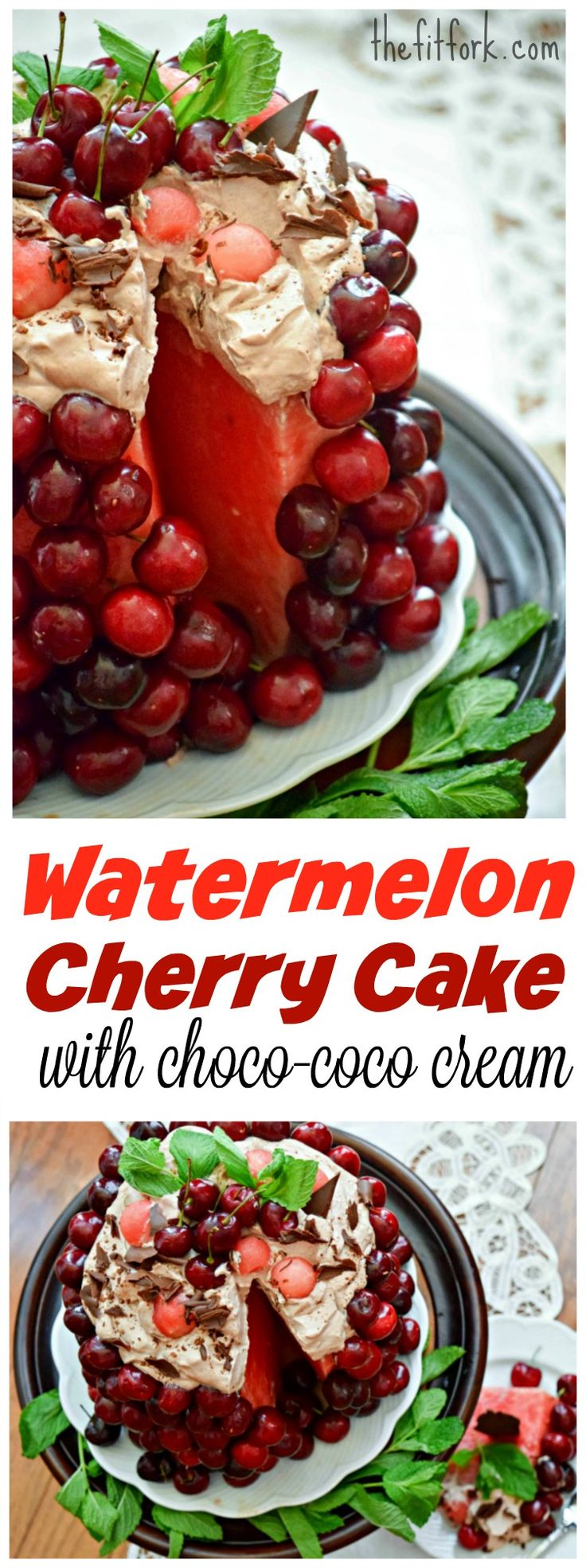 Watermelon Cherry Cake with Choco Coco Cream is a light summery dessert that is dairy-free, raw,  paleo and vegan.