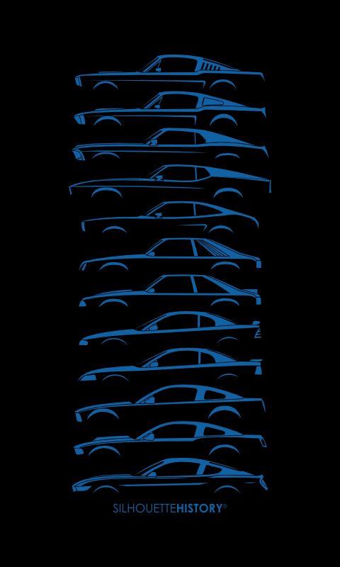 SilhouetteHistory Mustang  Model years: 1965, 1968, 1969, 1971, 1975, 1981, 1989, 1995, 2000, 2005, 2010, 2015