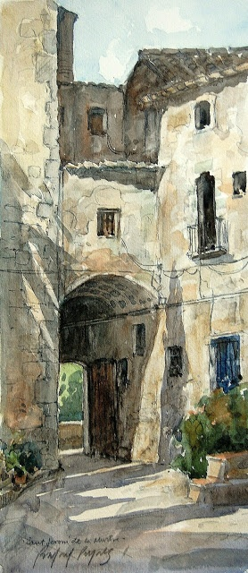 Rafael Pujals art  building watercolor