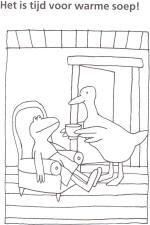 Kleurplaat: Kikker krijgt soep van eend