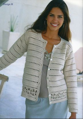womens crochet cardigan crochet pattern lacy crochet jacket v or round neck 26-38inch cotton DK womens crochet patterns pdf instant download