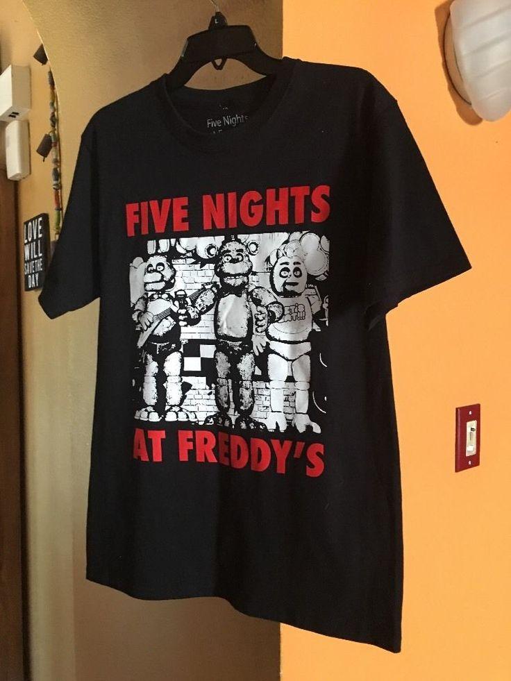 Five Nights at Freddy's Black Tee T Shirt Fun Survival Horror Game Free SHIP | eBay