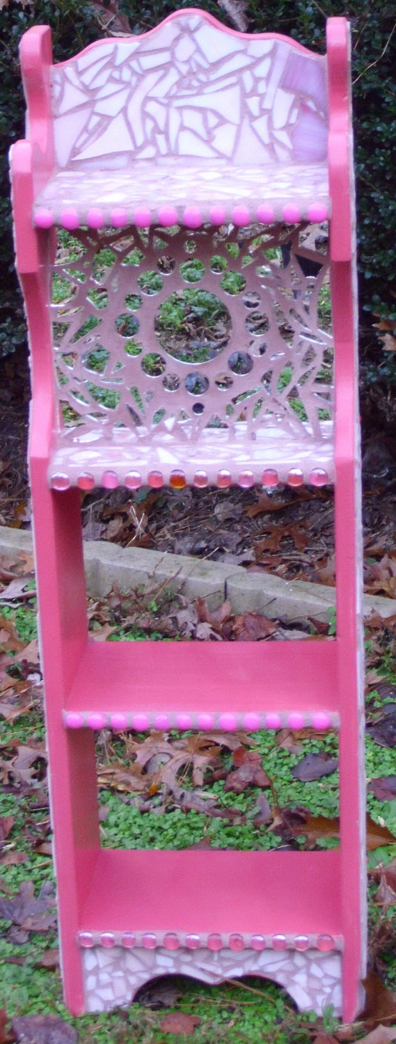 Watermelon Pink Mosaic Book Shelf with Mirror  by BonniesMosaics, $150.00