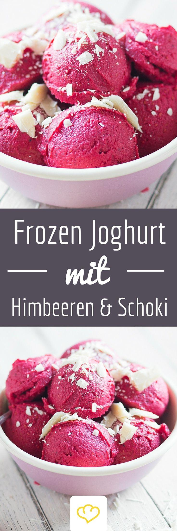 Blitz-Frozen-Joghurt mit Himbeeren und weißer Schokolade