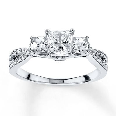25 best ideas about princess cut engagement rings on pinterest princess cut wedding rings princess cut rings and princess cut - White Gold Wedding Rings For Her