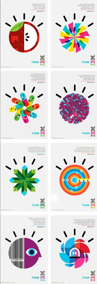 IBM Smarter Planet icons by Office + Ogilvy & Mather. The IBM icons are excellent, vibrant, simple and distinctive. Definitely the best graphics for the tech industry