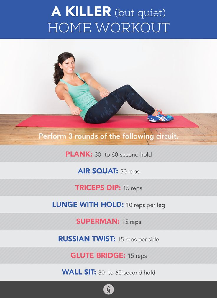 Ready to sweat without making a sound? Complete three rounds of the following circuit.