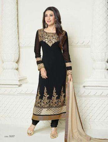 Karishma does karishma in this black salwar suit !! Black resham embroidery georgette semi stitched salwar with dupatta