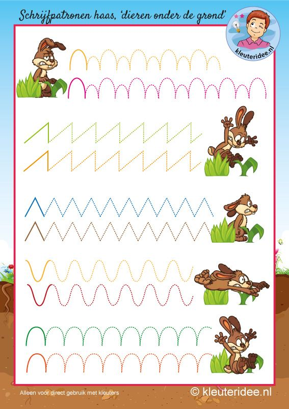 Schrijfpatroon haas voor kleuters,kleuteridee, kindergarten hare writing pattern, free printable.