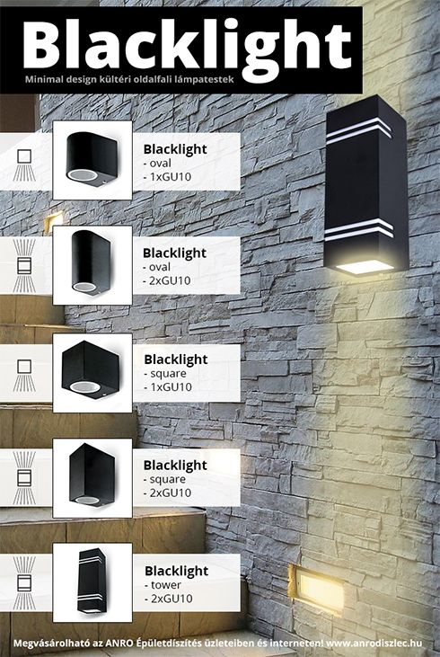 Modern outdoor lighting fixtures from V-tac.   You can buy it online: www.anrodiszlec.hu  Black housing, GU10 bulb (price doesnt contain it), round and square.   Nice lamps for modern houses, white frontage, etc.