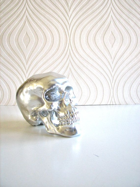 Skull Head in silver Mr. Smiley by mahzerandvee on Etsy, $28.00