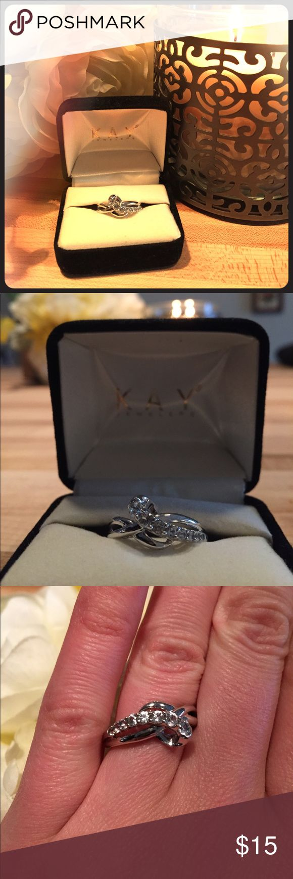 """Ring - Kay Jewelers Beautiful women's cubic zirconia and sterling silver ring. Perfect for an engagement or wedding band, anniversary gift or just to say """"I love you"""". Kay Jewelers Jewelry Rings"""