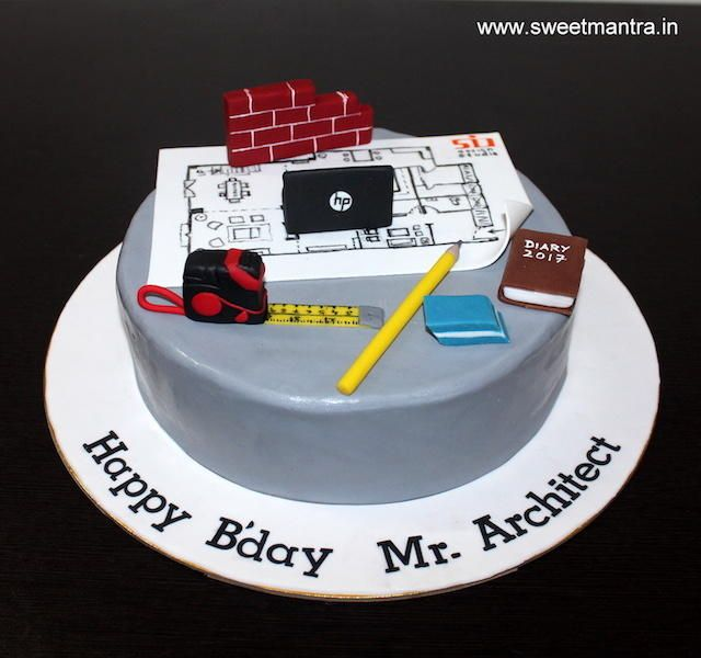 Architecture/Civil theme small customized designer birthday cake by Sweet Mantra - Customized 3D cakes Designer Wedding/Engagement cakes in Pune - http://cakesdecor.com/cakes/273518-architecture-civil-theme-small-customized-designer-birthday-cake