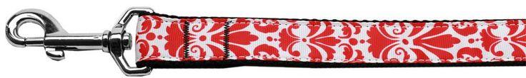 Damask Nylon Dog Leash 6 Foot Red