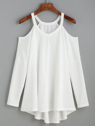 T-shirt tricoté épaules nues manche longue - blanc