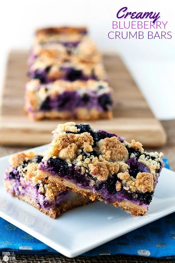 This Creamy Blueberry Crumb Bars recipe is just the thing for using up fresh, in-season blueberries! They're utterly delicious and simple to make! | Blueberry Recipe | Blueberry Dessert Blueberry Crumble Bars | Blueberry Bars