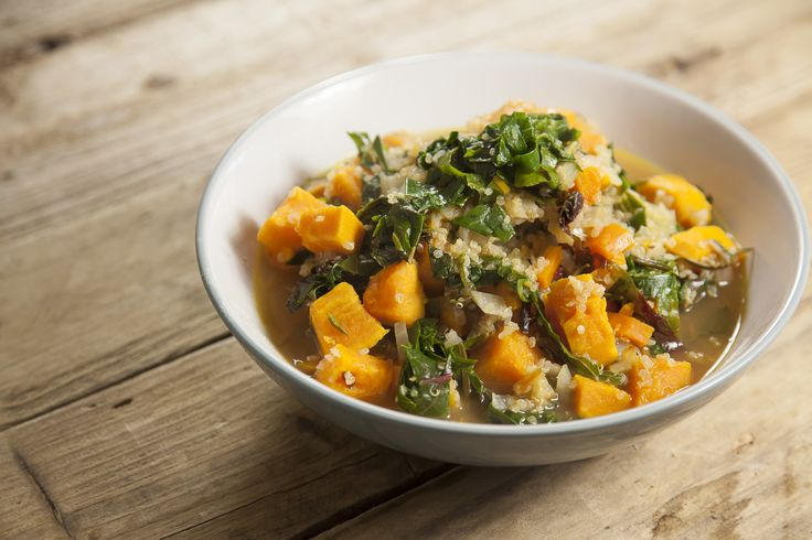 Chard, sweet potato and quinoa stew. A hearty, nutritious easy to make stew. This has lots of protein from the quinoa and sweet potato and makes an invigorating weeknight dinner. Use veg stock if you're vegetarian or vegan. The chard can be substituted or supplemented with any other green you get in your veg box – spinach, kale, winter or summer greens. This is also good with finely minced ginger and a squeeze of lemon juice for more of a kick.