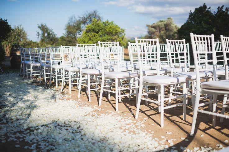 white chiavari chairs for wedding ceremony in Crete