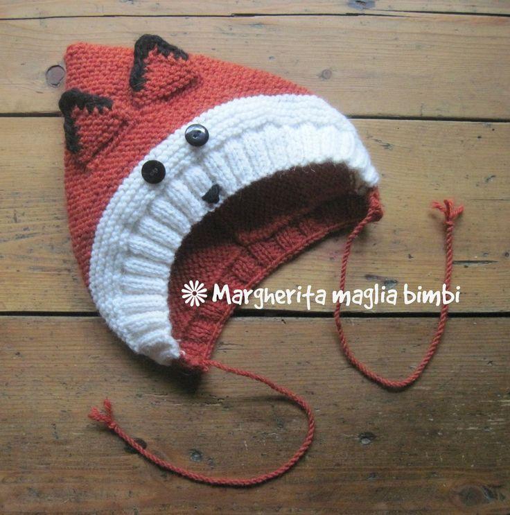 Cappello volpina, cappuccio, berretto bambino in pura lana e alpaca fatto a mano ai ferri, by Margherita maglia bimbi, 23,50 € su misshobby.com