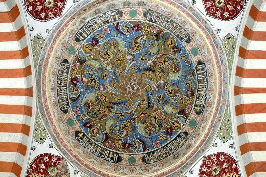 Inner dome details from Uc Serefeli Mosque 1410 - Edirne, Turkey.