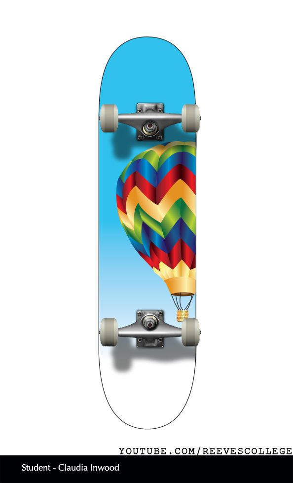 Skateboard Deck Design Adobe Illustrator CS6 by Reeves College Student Claudia I  #skateboard #clipart #design #art #skateboardart #skateboarddesign #skatedeck #deckart #deckdesign #graphicdesign Subscribe to Reeves College:  http://www.youtube.com/subscription_center?add_user=ReevesCollege