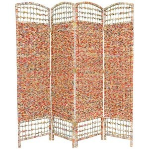 Oriental Furniture 67'' Recycled Magazine 4 Panel Room Divider