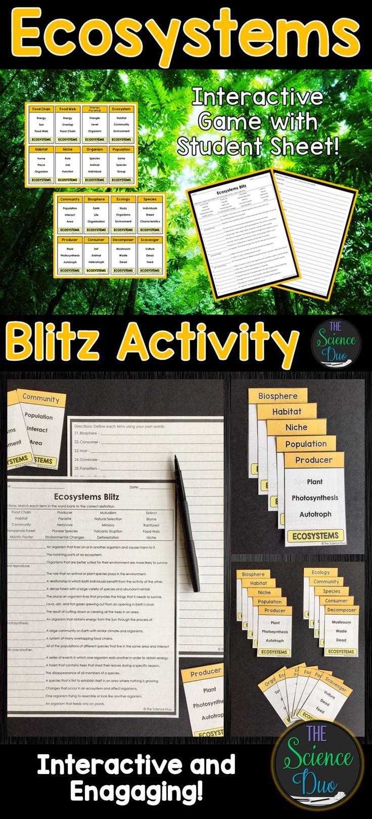 Ecosystems Blitz Activity Ecosystem activities, Teaching