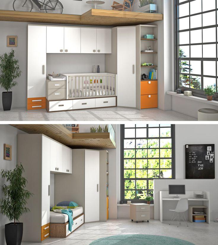 Cuna convertible con armario de rincón. Se convierte en un precioso dormitorio juvenil con cama y zona de estudio.