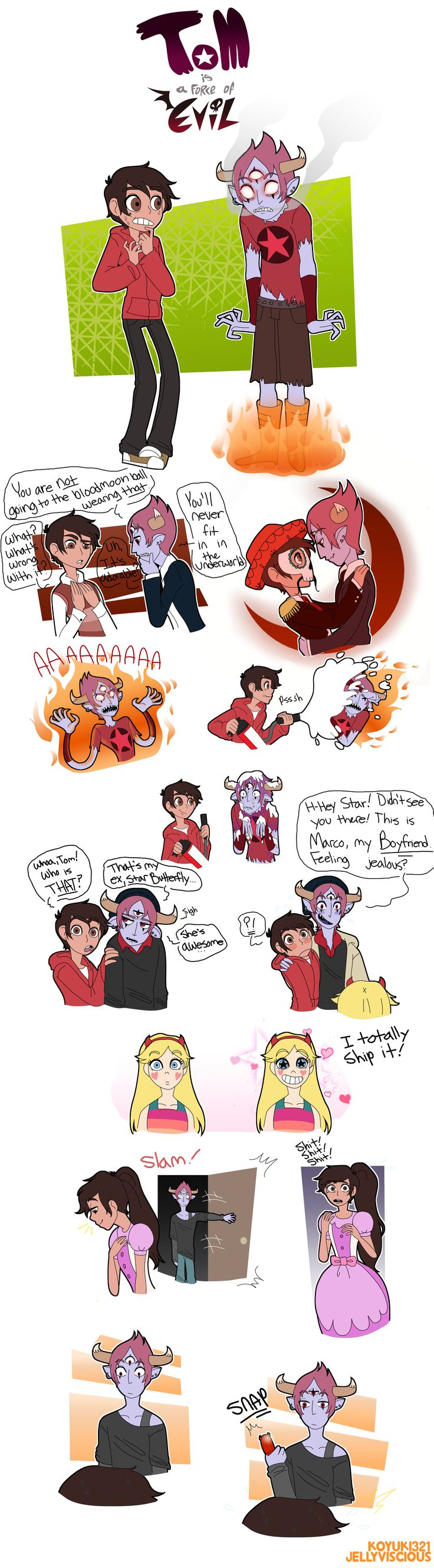 An au where Tom is the exchange student from another dimension that's staying with Marco. Everything is the same except Tom takes Star's role, and they get into crazy adventures. Instead of calling it Tom vs. the Forces of Evil, I thought it would be fitting to call the au Tom is a Force of Evil. Because he's a demon, get it?  http://img00.deviantart.net/ba1e/i/2016/224/d/4/tom_is_one_of_the_forces_of_evil_by_koyuki321-dadl1v9.png
