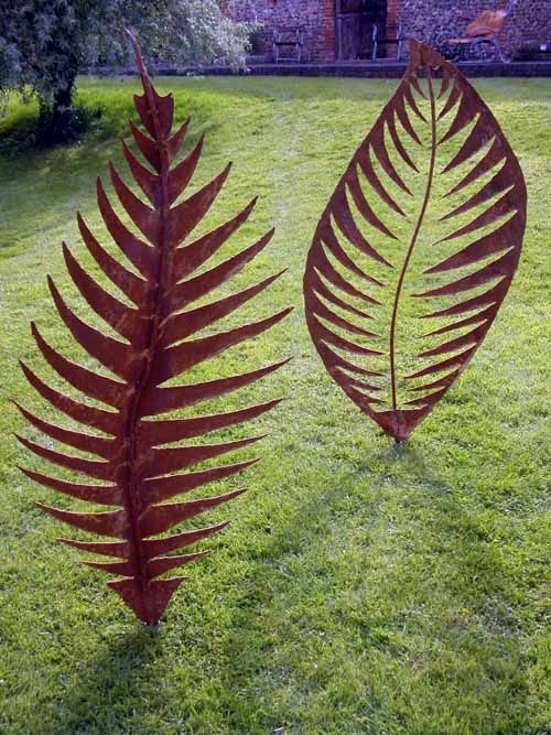 Mild Steel Garden Or Yard / Outside And Outdoor Sculpture By Artist Peter M  Clarke Titled: U0027Leaf Form I (Large/Outsize/Big Metal Leaf Garden/Yard ...