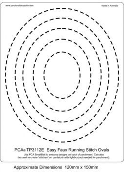 PCA EASY EMBOSSING TEMPLATE 3112E - FAUX RUNNING STITCH OVALS  Easy embossing template, Faux Running Stitch Ovals. Use a PCA small ball tool and this template to create pretty 'sewn' oval shapes. Simply place the parchment over the template and follow the lines with a ball tool. PCA recommend lubricating the parchment with a tumble dryer sheet before embossing.