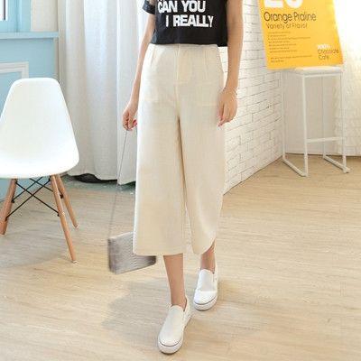 Womens Work Trousers Black Wide Leg Trousers Femme High Waist Straight Trouser Ladies Capri Pants Girls Plus Size Dress Pants
