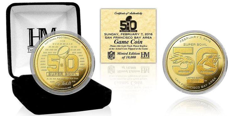 Broncos vs Panthers Super Bowl 50 Dueling Logo Gold Plated Flip Coin #TheHighlandMint #CarolinaPanthersDenverBroncos