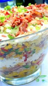 Southern Corn Bread Salad Recipe -To feed a crowd, I make this eye-popping corn bread salad. It's beautiful in a trifle bowl and instant sunshine by the spoonful. —Debbie Johnson, Centertown, Missouri