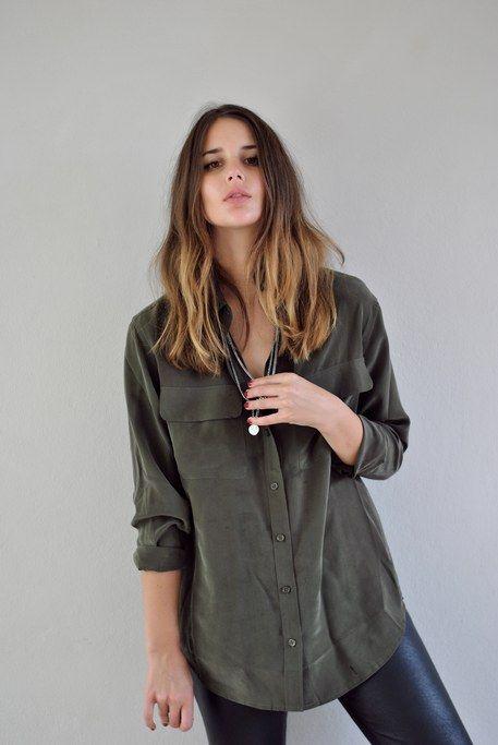 oversized khaki military shirt
